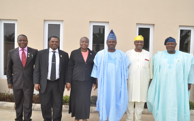 L-R: Osun State Head of Service, Mr. Sunday Owoeye, Oyo State  HOS, Mr. Tajudeen Aremu, Ogun State HOS, Mrs. Modupe Adekunle, Ogun State Governor, Senator Ibikunle Amosun, Lagos State HOS, Mr. Adesegun Ogunlewe and Ekiti State HOS, Mr. Bunmi Famosaya at the 4th Summit of Heads of Service, South-West Geo-Political Zone held in Abeokuta on Tuesday