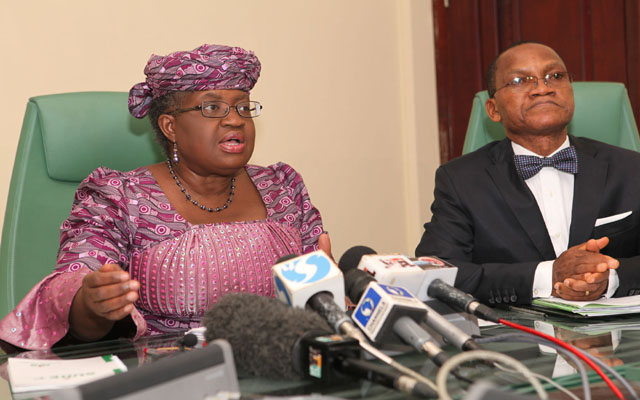 CME/ Minister of Finance, Dr. Ngozi Okojo-Iweala and Director General Debt Management Office, Dr. Abraham Nwankwo during a joint press brifing on issue of Nigeria position on Euro Bond held at the Ministry in Abuja PHOTO; SUNDAY AGHAEZE. JULY 3 2013.