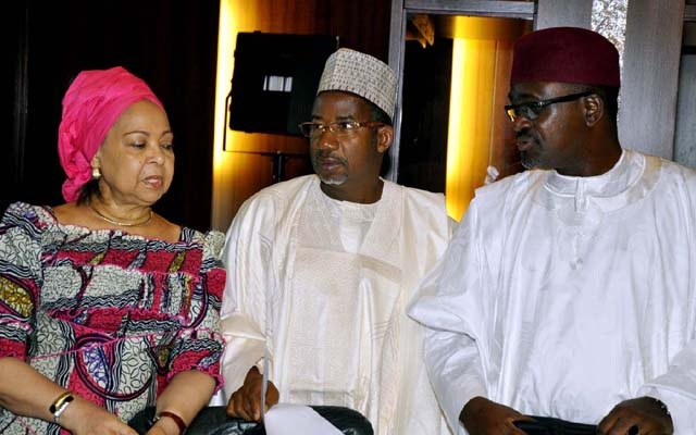 L -R , MINISTER OF HOUSING AND UBBAN DEVELOPMENT , MS. AMAQ PEPPLE ; MINISTER OF FCT , SENATOR BALA MOHAMMED AND THE MINISTER OF MINES AND STEEL DEVELOPMENT , MR. MOHAMMED MUSA SADA AT THE FEDERAL EXECUTIVE COUNCIL MEETING HELD AT THE COUNCIL CHAMBERS OF THE PRESIDENTIAL VILLA , ABUJA ..YESTERDAY (03-07-2013) . GODWIN OMOIGUI