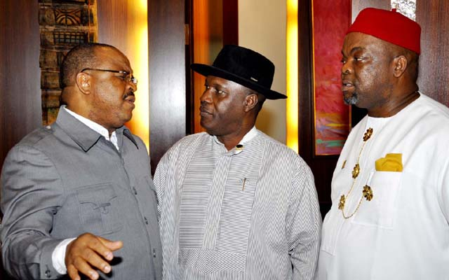L -R , MINISTER OF WORKS , MR MIKE OLONOMEMEN ; MINSTER OF NIGER DELTA AFFAIRS , ELDER PETER ORUBEBE AND THE MINISTER OF LABOUR AND PRODUCTIVITY, CHIEF CHUKWEMEKA WOGU AT THE FDERAL EXECUTIVE COUNCIL MEETING HELD AT THE COUNCIL CHAMBERS OF THE PRESIDENTIAL VILLA , ABUJA ..YESTERDAY (03-07-2013) . GODWIN OMOIGUI