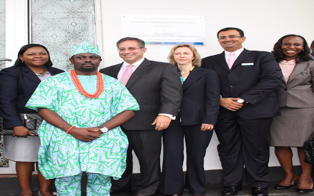 L-R: Mrs. Bola Adesola, Managing Director/CEO SCB, Nigeria; Mr. Moses Arabome, Branch Manager Agidingbi; Mr. Steve Bertamini, Group Executive Director/CEO Consumer Banking; Ms. Diana Layfield, CEO Africa; Mr. Raheel Ahmed, Regional Head of Consumer Banking for Middle East, Pakistan and Carol Oyedeji, Regional Head Consumer Banking, West Africa, all of Standard Chartered Bank, during the opening of Standard Chartered Bank Branch in Agidingbi, Lagos recently.