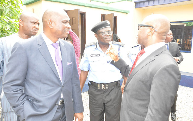 (l-r) CEO/MD, Airtel Nigeria, Segun Ogunsanya, Lagos State Deputy Commissioner of Police (Admin), Felix O. Ogundeji and Vice-Chairman, Lekki Residents Association, Engr. Jerry Otiji sharing some jokes at the Commissioning of the Police Post renovated by Airtel Nigeria in Lagos recently.