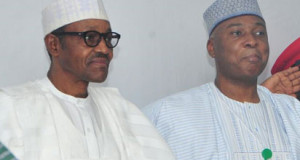 Senate President, Dr. Bukola Saraki and President Muhammadu Buhari at the APC NEC Meeting.