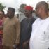 L-R: Deputy Governor of Enugu State, Mrs. Cecilia Ezeilo; Governor Ifeanyi Ugwuanyi of Enugu State; Senator Chuka Utazi; and the state Commissioner for Enugu Capital Territory Development Authority, Barr. Chidi Aroh during the funeral rites of Aroh's mother-in-law, Dr. Chinyere Francisca Evelyn Obayi at Nguru Nsukka, Enugu State, yesterday.