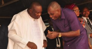 Governor Ifeanyi Ugwuanyi  of Enugu State (left), conferring with the state chairman of the Trade Union Congress, Comrade Igbokwe Chukwuma Igbokwe