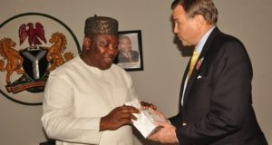 Governor Ifeanyi Ugwuanyi of Enugu State with US Ambassador Stuart Symington