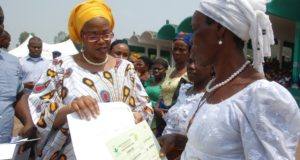 Mrs. Monica Ugwuanyi, empowering widows and other women drawn from the 17 local government areas of the state during the state Women Prayer Network, at Michael Okpara Square, Enugu, yesterday
