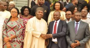 Gov. Ifeanyi Ugwuanyi of Enugu State (2nd left); his deputy, Mrs. Cecilia Ezeilo (left); chairman of the Governing Council,  Enugu State Polytechnic, Iwolo, Mr. Chinedu Onu;  and a member of the council, Mr. Julius Ogbuka, shortly after their inauguration at Government House, Enugu, yesterday.