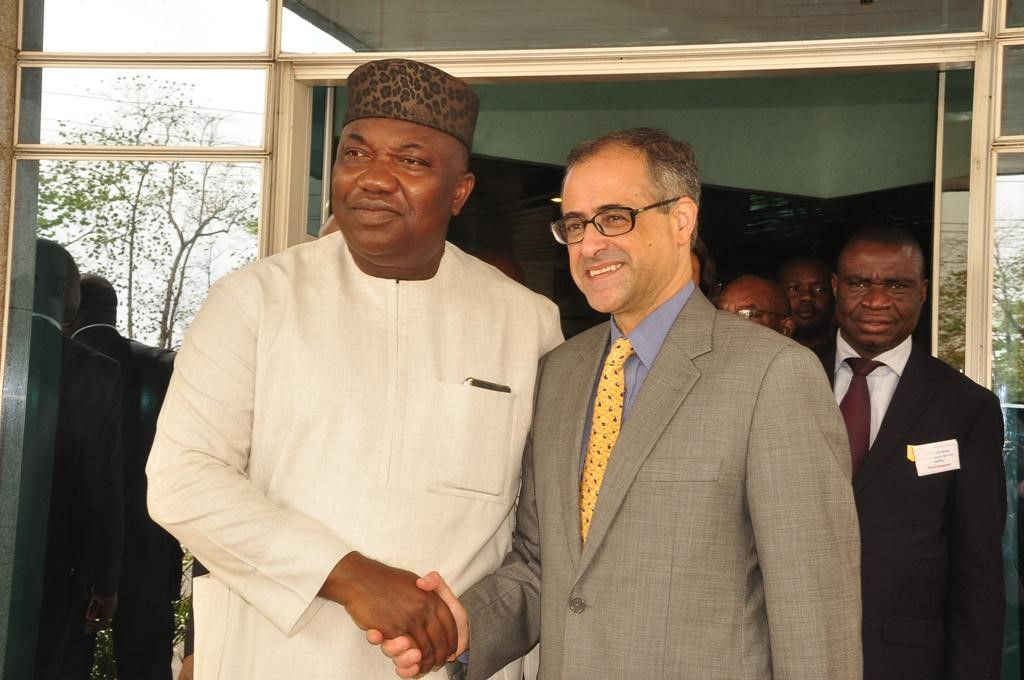 Gov. Ifeanyi Ugwuanyi of Enugu State, in a handshake with the Country Director of World Bank, Rachid Benmesaoud