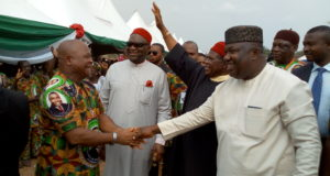 Gov. Ifeanyi Ugwuanyi of Enugu State with the former Governor of old Enugu State, Dr. Okwesilieze Nwodo, the President-General of Ohanaeze Ndigbo, Chief John Nnia Nwodo