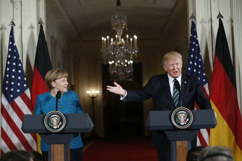 US President, Donald Trump and with German Chancellor Angela Merkel